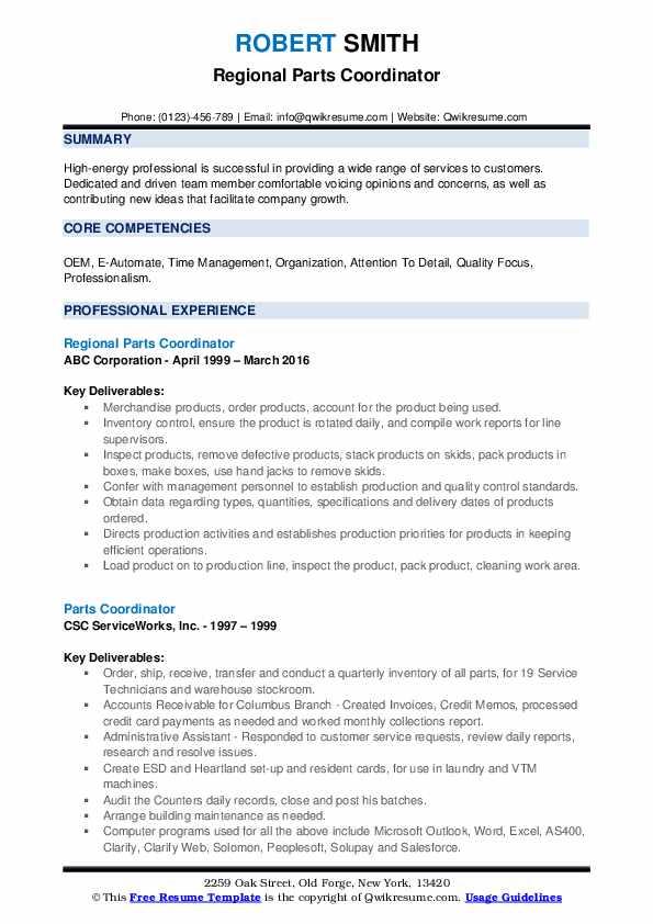 Regional Parts Coordinator Resume Model
