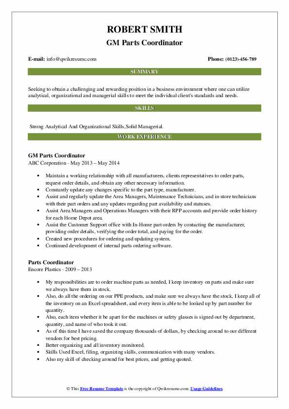 GM Parts Coordinator Resume Sample