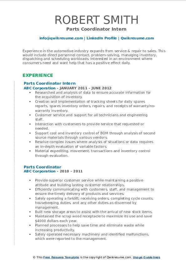 Parts Coordinator Intern Resume Example