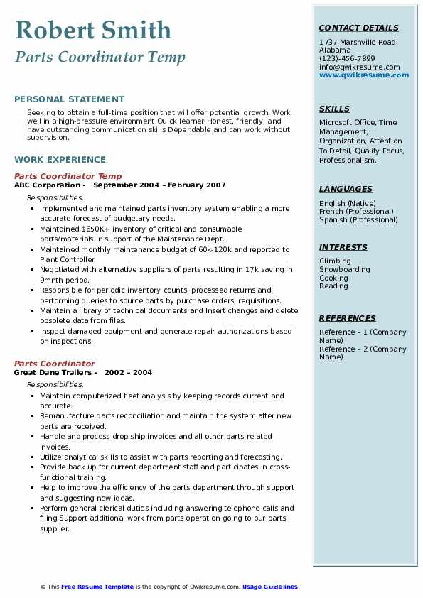 Parts Coordinator Temp Resume Model