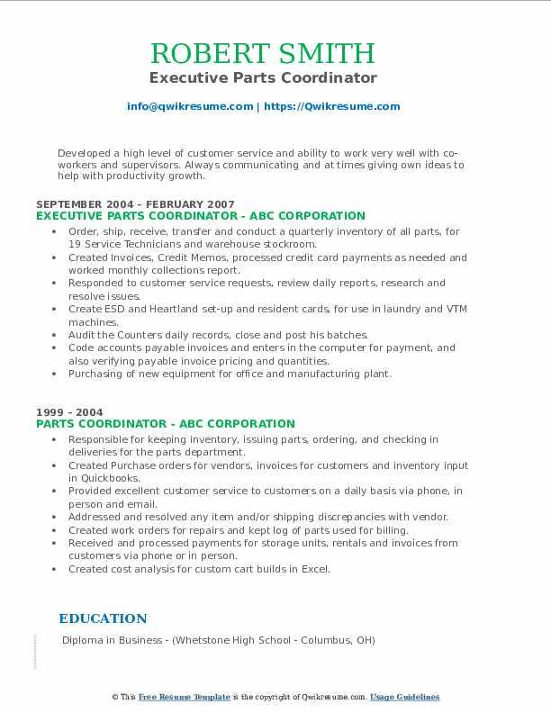 Executive Parts Coordinator Resume Example