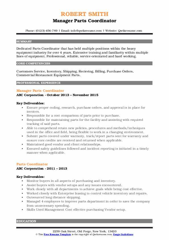 Manager Parts Coordinator Resume Template