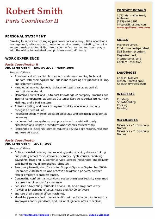 Parts Coordinator II Resume Model