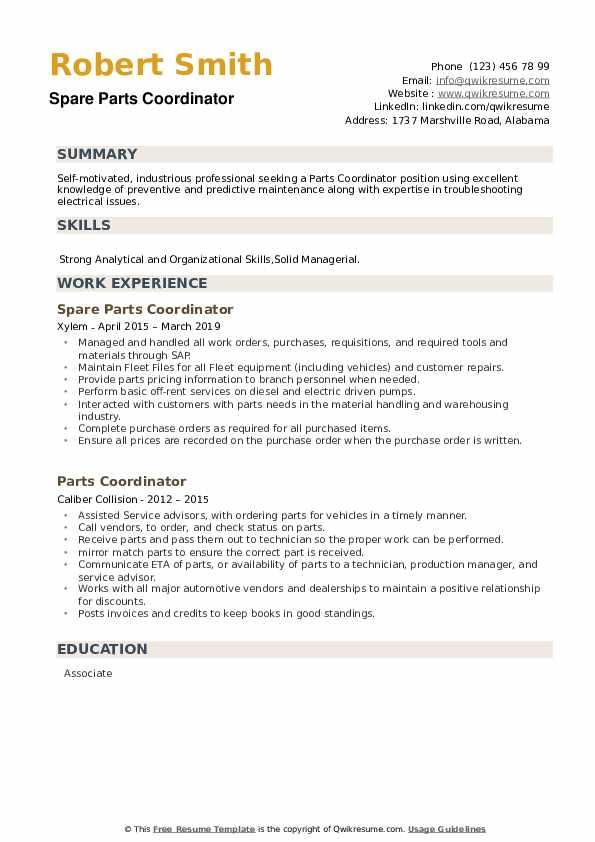 Spare Parts Coordinator Resume Template