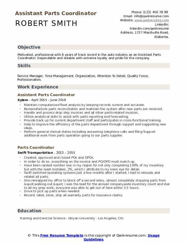Assistant Parts Coordinator Resume Example