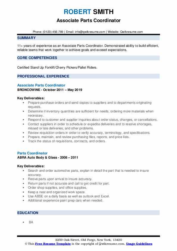 Associate Parts Coordinator Resume Format