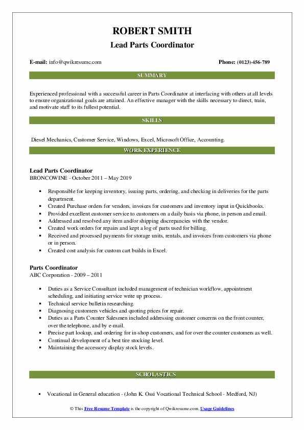 Lead Parts Coordinator Resume Sample