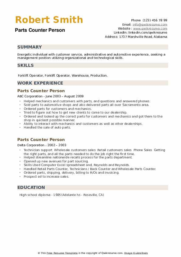 Parts Counter Person Resume example