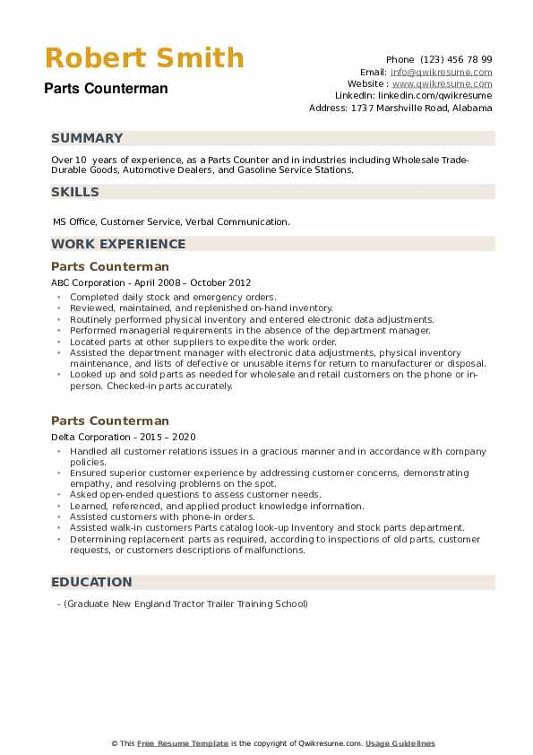 Parts Counterman Resume example