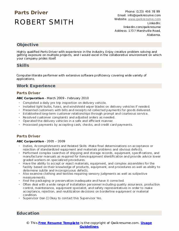 Parts Driver Resume Model