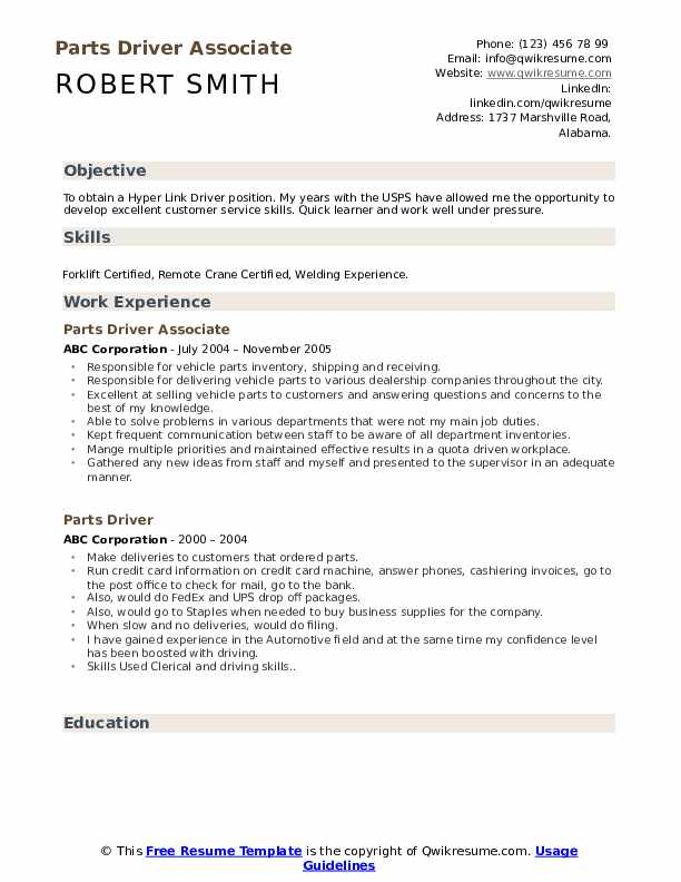 Parts Driver Associate Resume Format