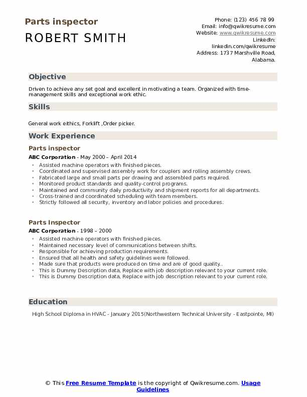 Parts Inspector Resume example