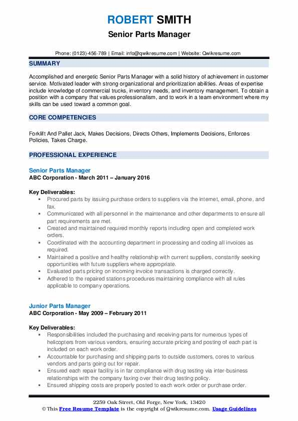 Senior Parts Manager Resume Template