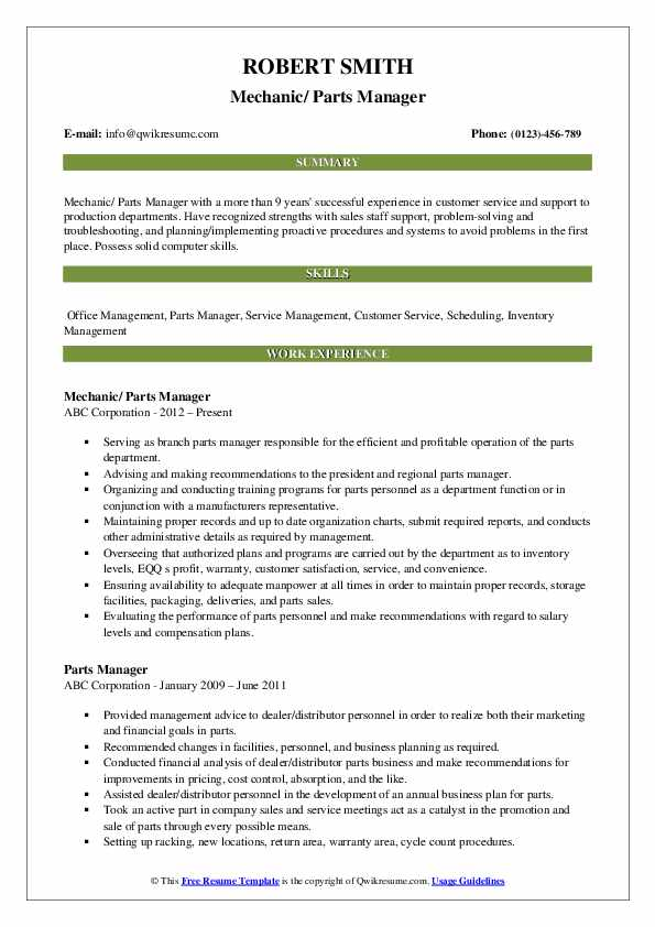 Mechanic/ Parts Manager Resume Sample
