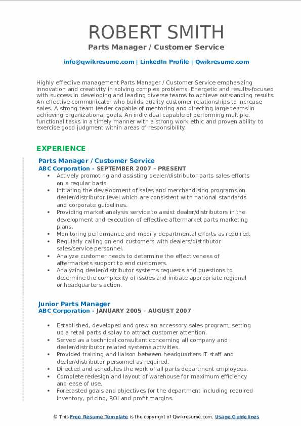 Parts Manager / Customer Service Resume Format