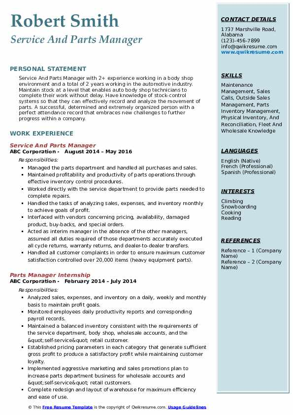Service And Parts Manager Resume Example