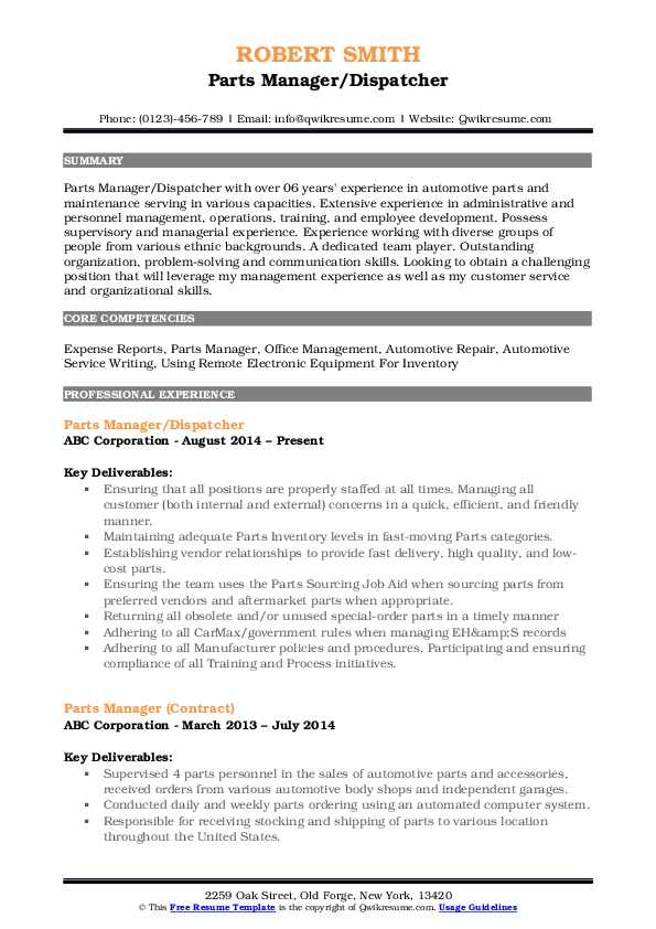 Parts Manager/Dispatcher Resume Format