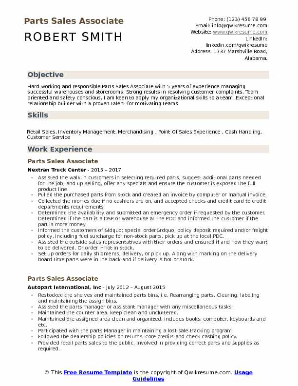 Parts Sales Associate Resume Samples Qwikresume