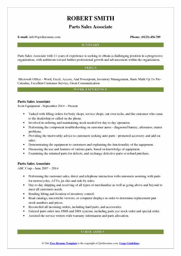 Parts Sales Associate Resume Example