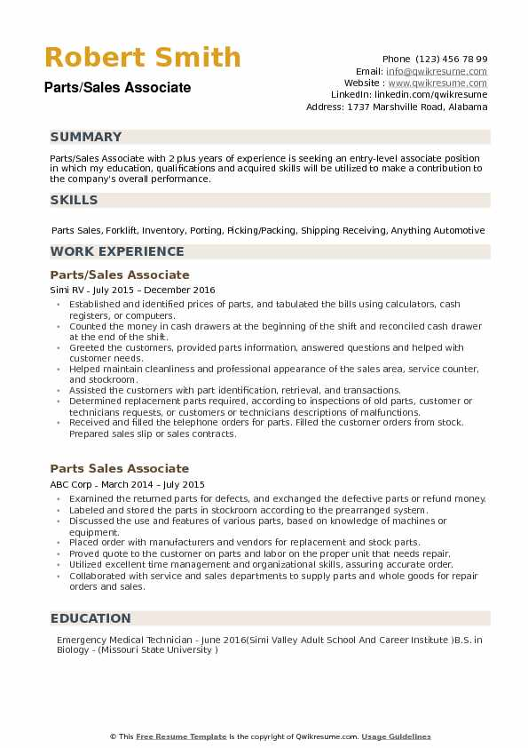 Parts Sales Associate Resume Samples