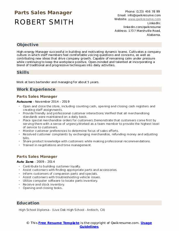 Parts Sales Manager Resume Format