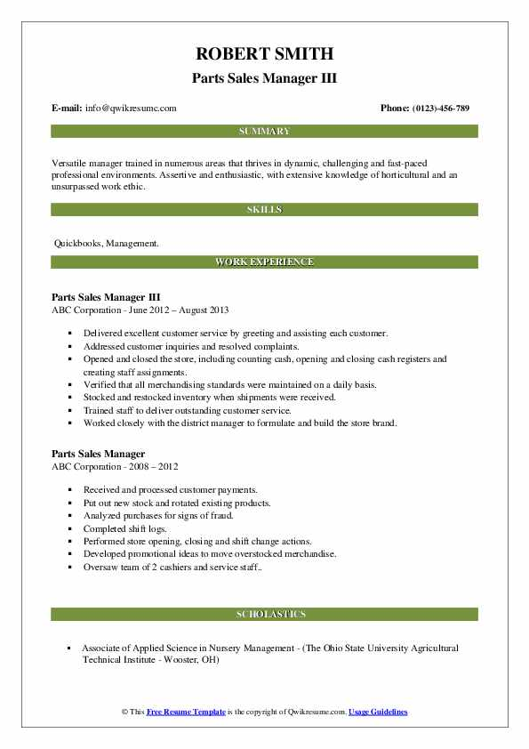 parts sales manager resume samples