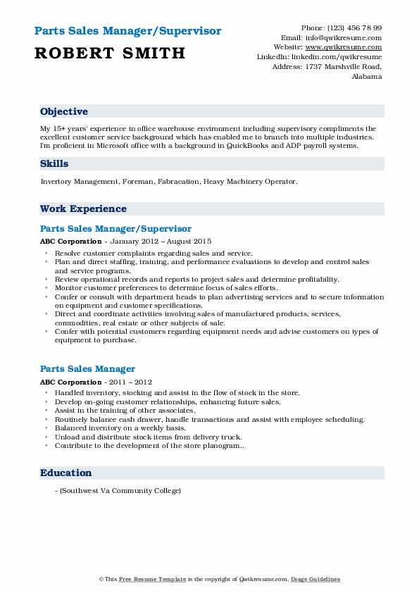 Parts Sales Manager/Supervisor Resume Model