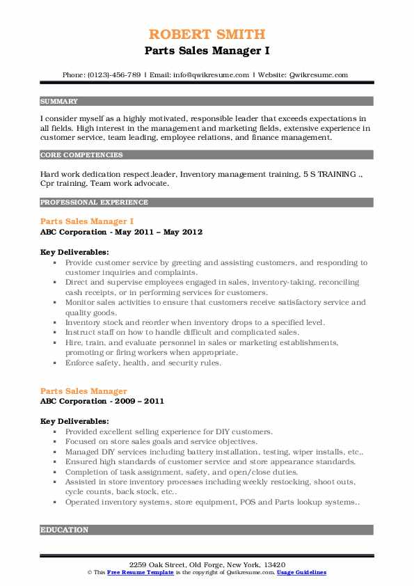Parts Sales Manager I Resume Template