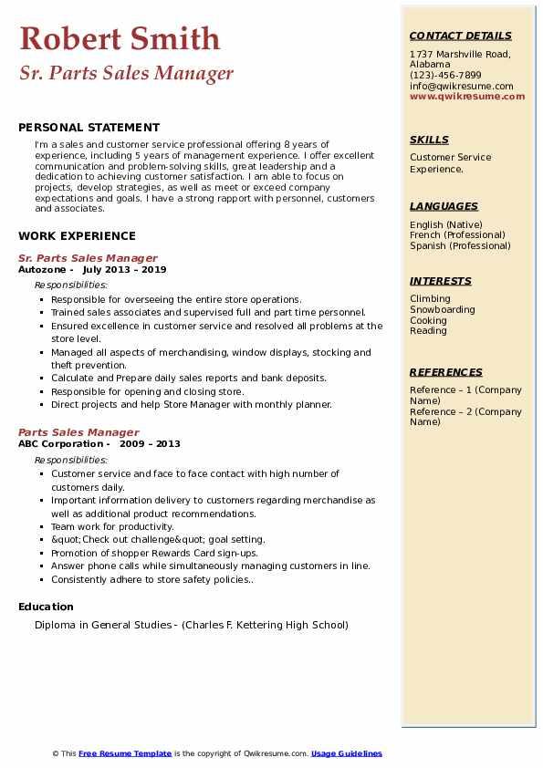 Sr. Parts Sales Manager Resume Sample