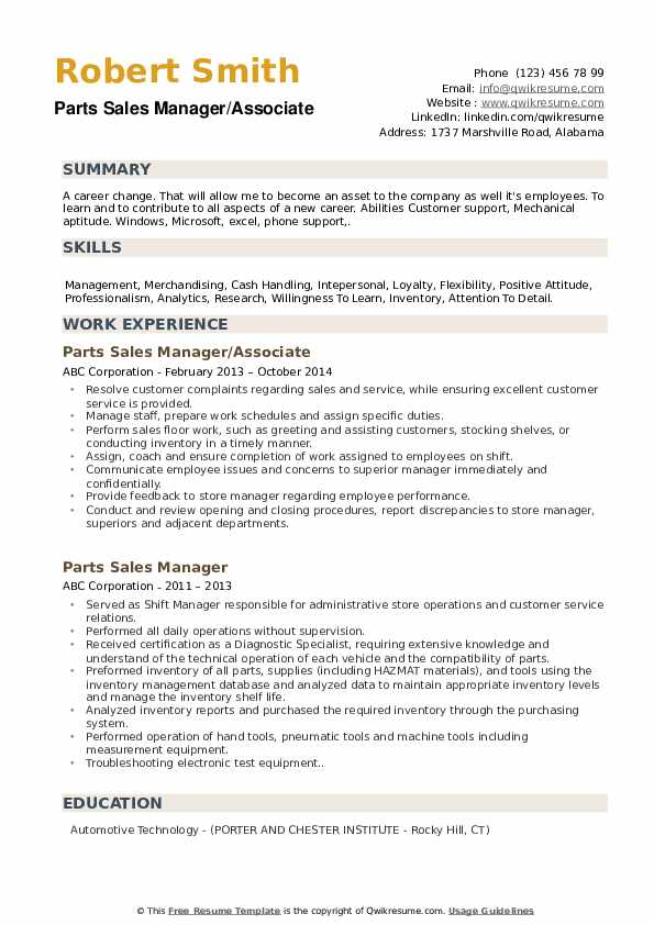 Parts Sales Manager/Associate Resume Format