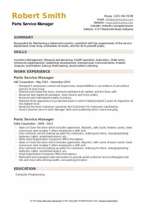 Parts Service Manager Resume example