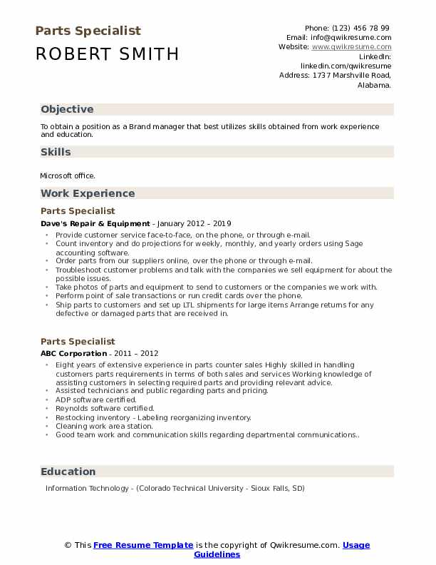 Parts Specialist Resume Model