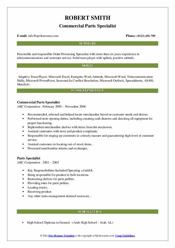 Commercial Parts Specialist Resume Sample