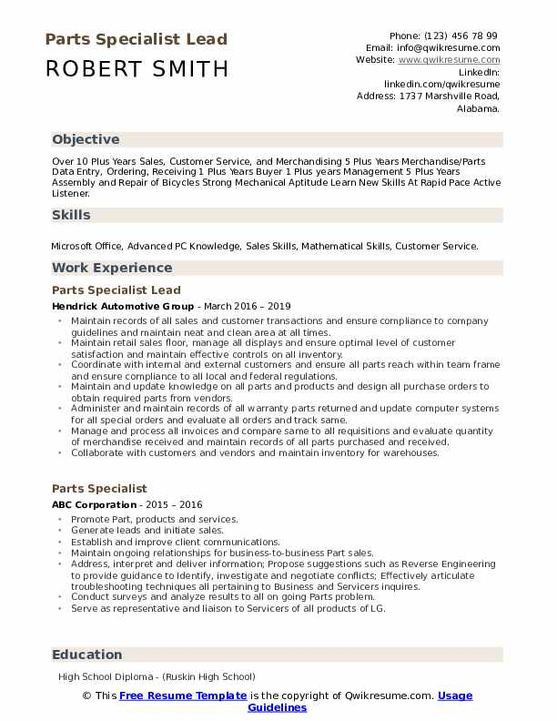 Parts Specialist Lead Resume Template
