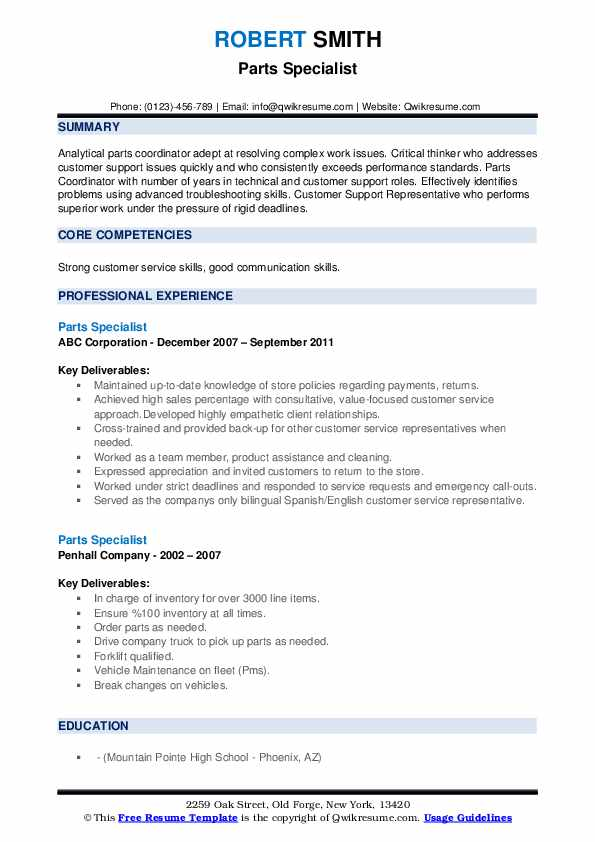 Parts Specialist Resume example