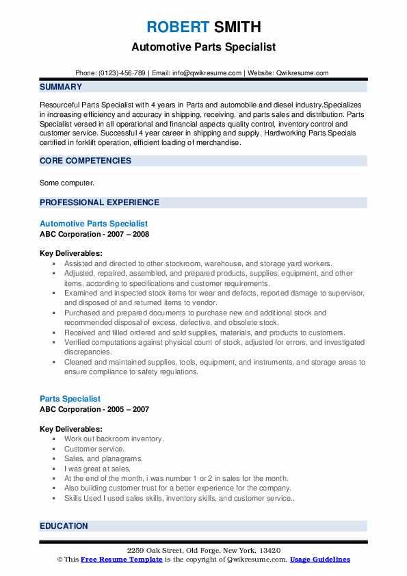 Warehouseman/Driver Resume Example