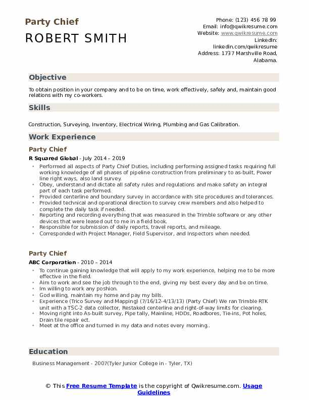 Party Chief Resume Model