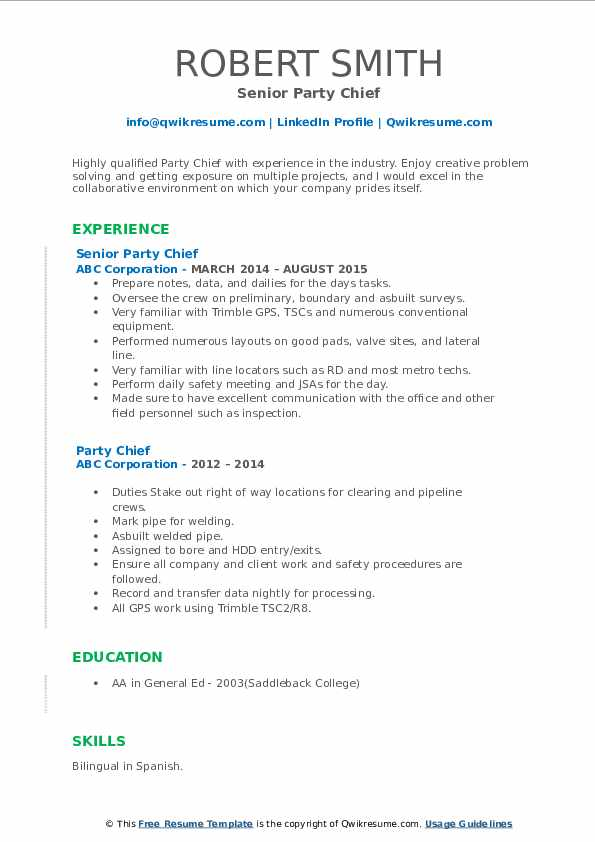 Senior Party Chief Resume Template