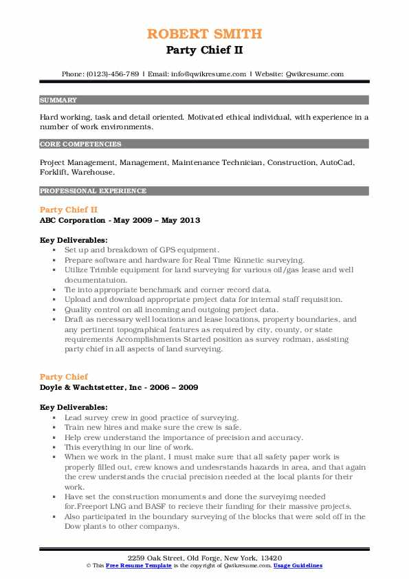 Party Chief II Resume Example