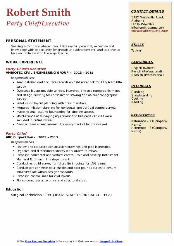 Party Chief/Executive Resume Example