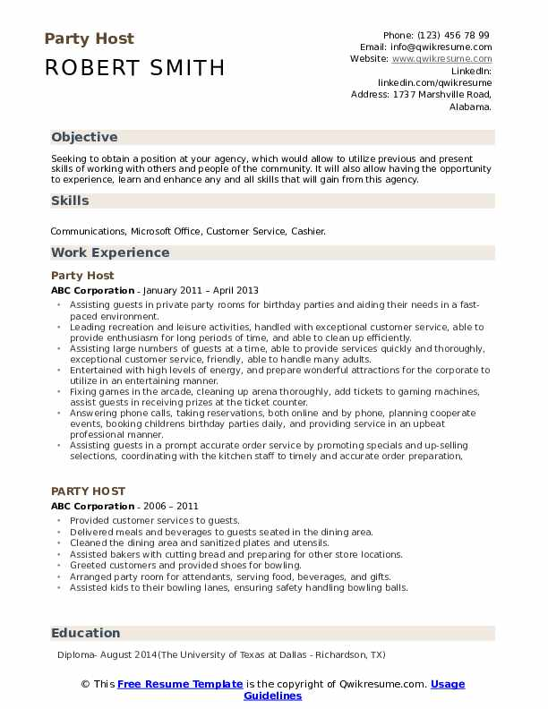 Party Host Resume Template