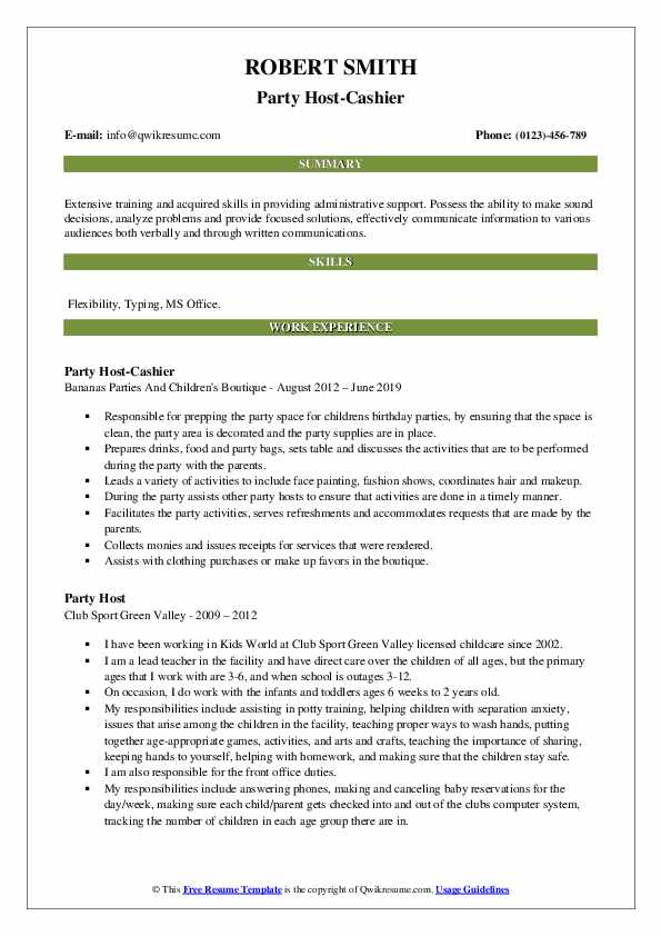 Party Host-Cashier Resume Template