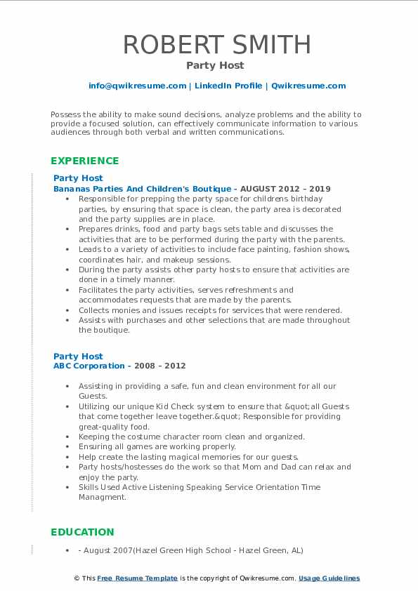 Party Host  Resume Example