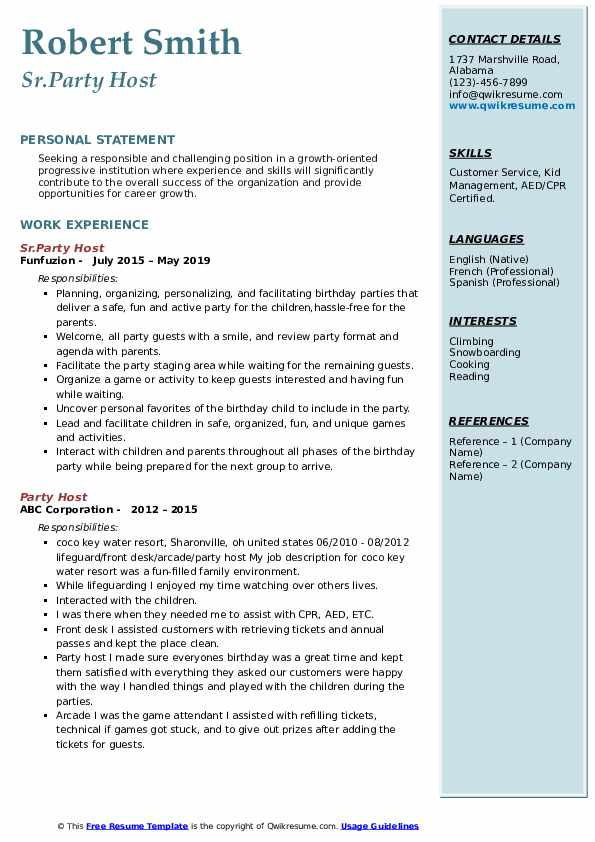 Sr.Party Host Resume Model