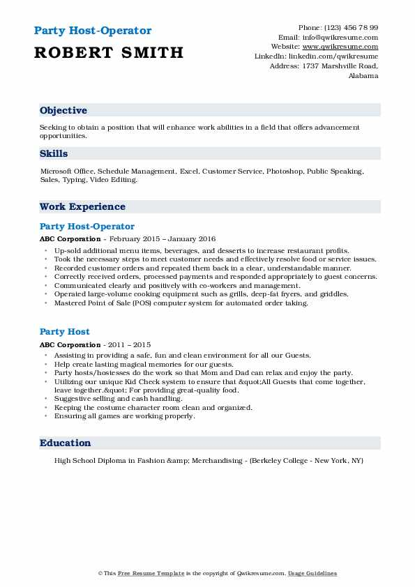 Party Host-Operator Resume Example