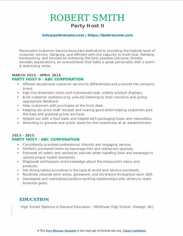 Party Host II Resume Model
