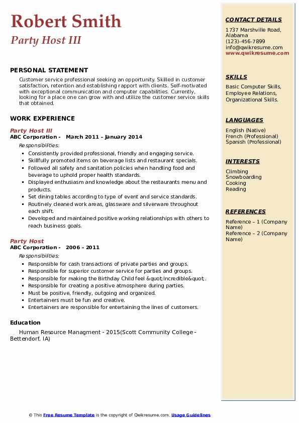 Party Host III Resume Example