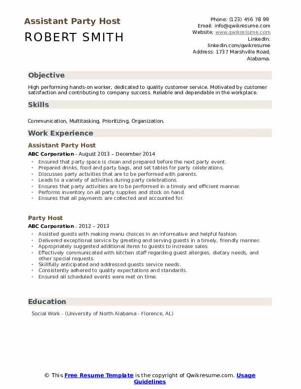 Assistant Party Host Resume Template