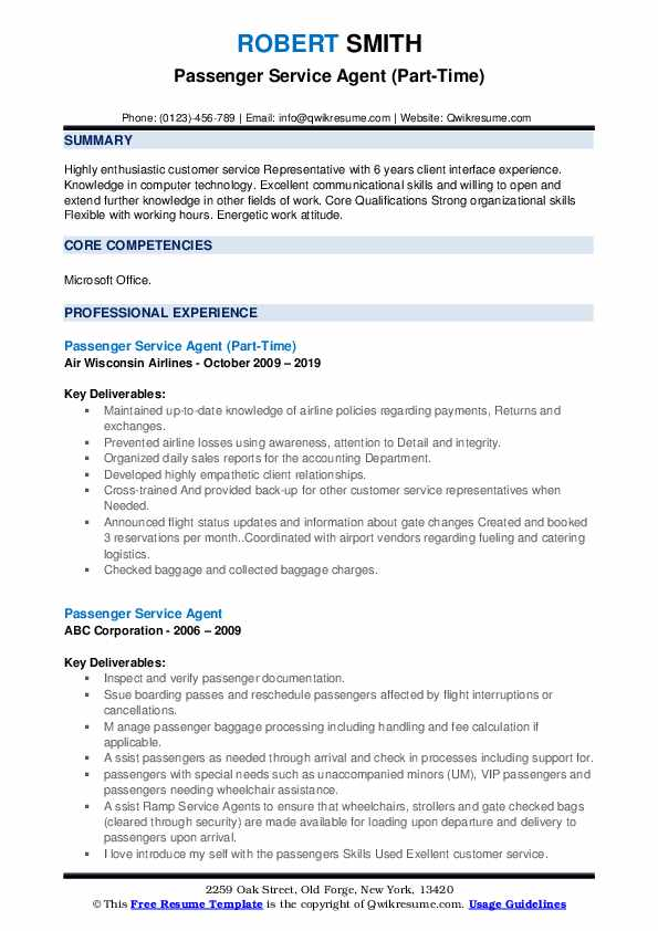 Passenger Service Agent (Part-Time) Resume Template