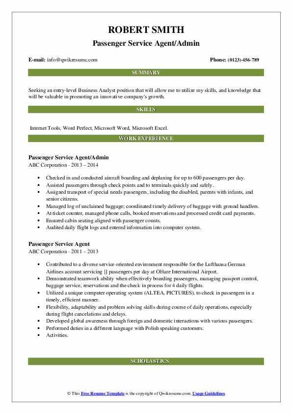 Passenger Service Agent/Admin Resume Model